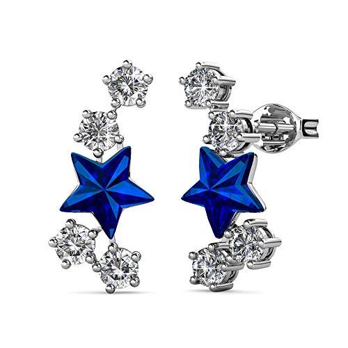 YOURDORA de Plata de Ley 925 Pendientes a Estrella a lo Largo de la Oreja para Mujer con Cristal de Swarovski Regalo Joyas Originales