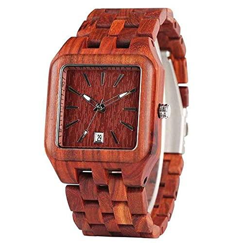 GIPOTIL Relojes de Madera Retro para Hombres Reloj de luz con Esfera Rectangular única para Hombre Pulsera de Madera Natural Completa Calendario Fecha Relojes de Pulsera de Cuarzo, Madera roja
