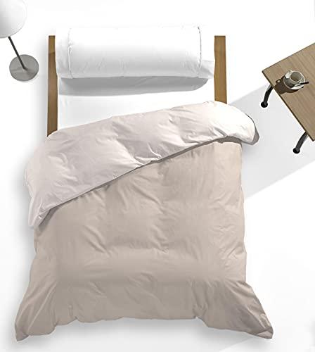 Catotex - Funda nórdica Reversible Bicolor Liso para edredón 50% algodón 50% Poliester. Cama de 90 cm Lino/Beige
