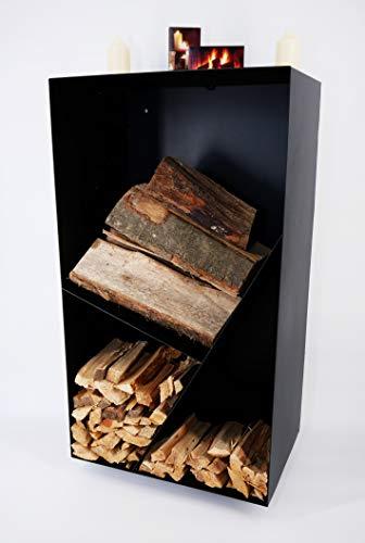 tradeNX Holzregal aus Metall zum Aufhängen – Modernes, praktisches Regal für Kaminholz mit Rückwand – Mit DREI großen Fächern in schwarzer Optik