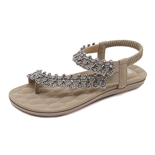 Sandalen Damen Sommer Flip Flops Bohemian Flach Leder Zehentrenner Sandalen mit Strass Größe 35-41 (39 EU, Beige)