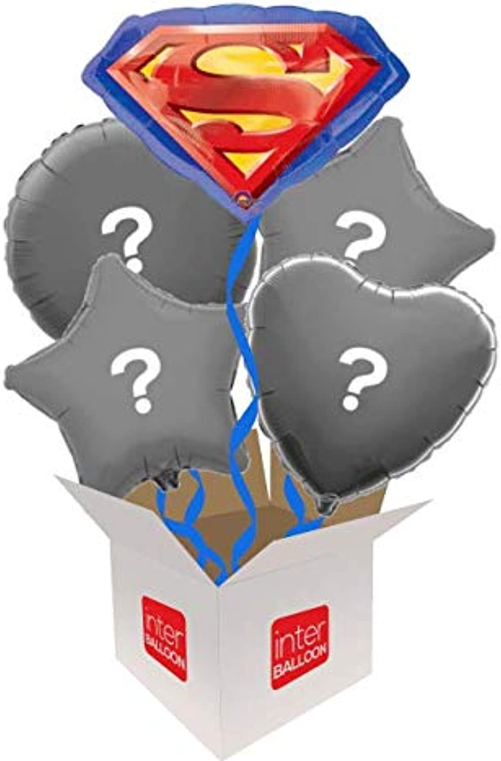 InterBalloon Helium Inflated 23  Superman Emblem Balloon Delivered in a Box with 4 Extra Balloons of your choice