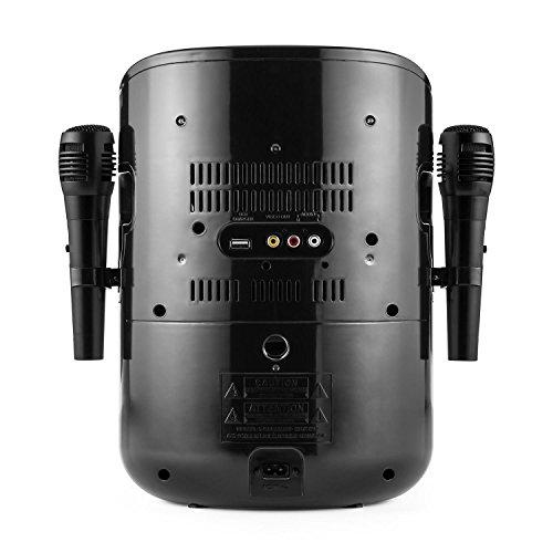 auna StarMaker BK • Kinder Karaoke Anlage • Karaoke Player • Karaoke Set • 2 x dynamische Kabel-Mikrofone • Bluetooth • integrierter Lautsprecher • CD+G-Player • Top Loading • Echo Effekt • A.V.C. Funktion • Video-Ausgang • USB-Port • LED Lichteffekte • schwarz - 2