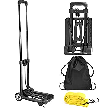 ZOENHOU 25KG 55Lbs Black Folding Hand Truck Solid Construction Utility Cart Heavy-Duty 2-Wheel Luggage Cart with 1 Roll Bungee Cord and 1 Pack Storage Pouch Compact for Travel Office