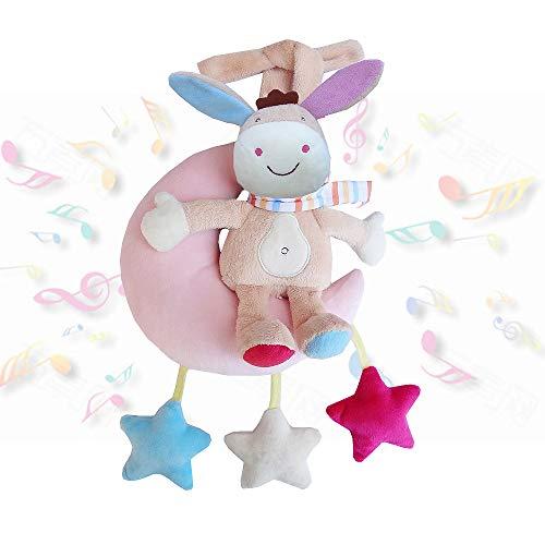 Czemo Juguete De Felpa Juguete Colgante Bebe Juguetes de Animales Juguete Musical para Silla de Paseo Cama Colgando, Regalos De Cumpleaños De Navidad para Recién Nacidos (Burro)