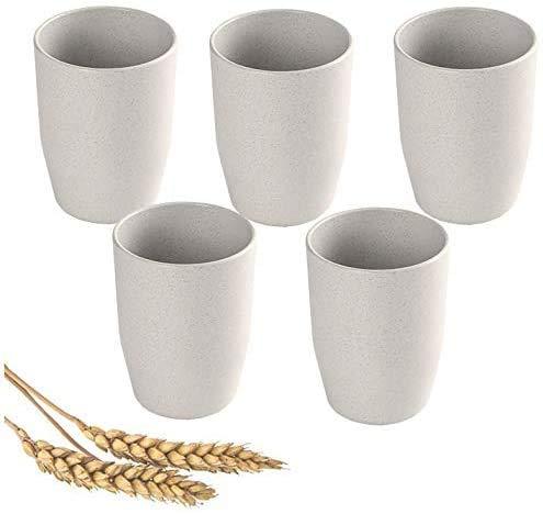 Vasos reutilizables ligeros e irrompibles (12 onzas), aptos para microondas y lavavajillas, ecológicos con paja de trigo para adultos,...