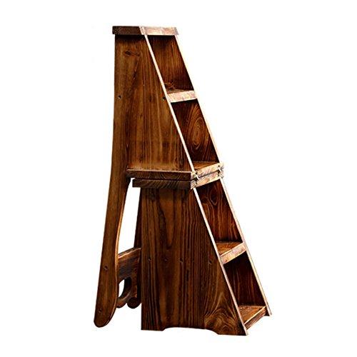 LIXIONG Leiterstuhl Mehrzweckfalten Multifunktionsregale Vier Schritte Mahlzeithocker, Massivholz Bibliothekshocker