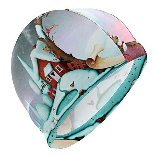 hgdfhfgd Gorro de natación Casas de Invierno de Navidad Gorro de baño de Conejo para Hombres Niño Adulto Joven Sombrero de natación Adolescente Sin Deslizamiento