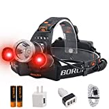 BORUIT LED Headlamp - Ultra Bright 5000 Lumens, 3 Lighting Modes,White & Red LEDs, IPX4 Water Resistant, USB Rechargeable Head Lamp Perfect for Running, Camping, Hiking & More