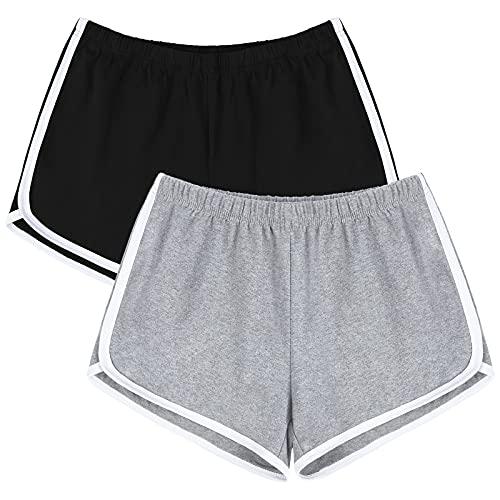 URATOT 2 Pack Cotton Sport Shorts Yoga Dance Short Pants Summer Athletic Shorts Black, Light Grey