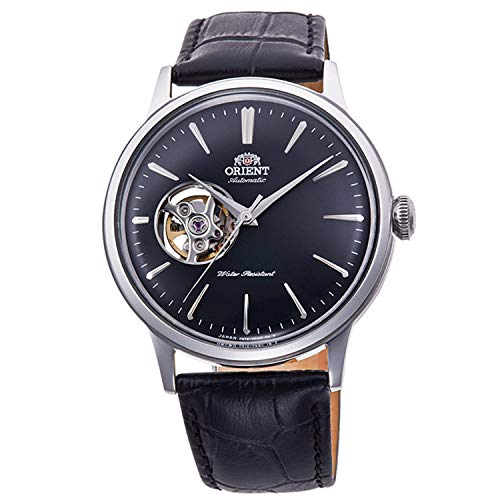 Orient Men's Stainless Steel Automatic Watch with Leather Strap, Black, 22 (Model: RA-AG0004B10B)