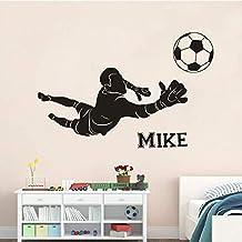 Portero de fútbol Vinilo Etiqueta de la pared Club de fútbol Niños Habitación Decoración Nombre personalizado Cartel de la pared Fútbol Deportes Vinilo Calcomanía 108 * 57Cm