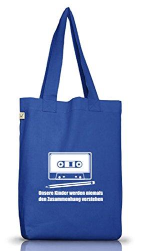 Shirtstreet24, Bleistift - Kassette, Jutebeutel Stoff Tasche Earth Positive (ONE SIZE), Größe: onesize,Bright Blue