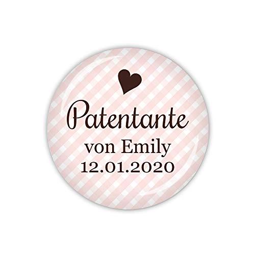 lijelove® Vichy rosa, Patentante personalisiert (Art. TA01-45) als Button, Magnet, Taschenspiegel und Flaschenöffner erhältlich (Button 59mm Ø)