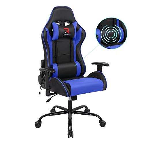 Rimiking Massage Computer Gaming Chair-High Back PU Leather Swivel Adjustable Armrest Ergonomic with Soft Headrest&Backrest Blue