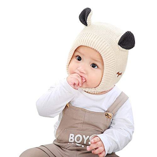 kyman Sombrero Gorra Baby Gorro Infantil niño Lindo Conejo Sombrero con plieva Forro y Bordado patrón de Bordado Invierno niñas niños niñas tapar Tapas de Punto Sombrero (Color: Amarillo)
