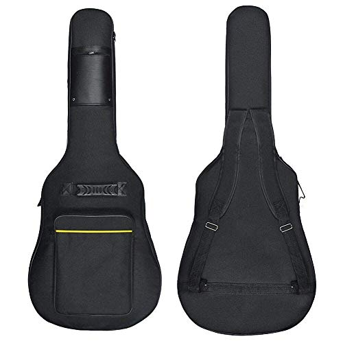 "Wuudi 41"" Bolsa de guitarra,funda de guitarra impermeable, con doble correa ajustable para el hombro, estuche de guitarra, Negro"