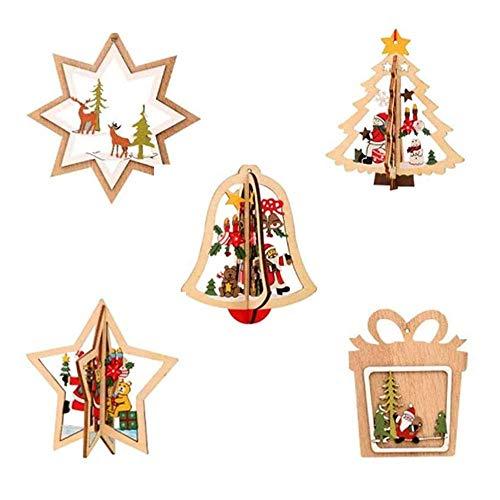 Ikruidy Natale in Legno Pendente5 Pezzi Natale Appeso Ornamenti in Legno per Albero di Natale Decorazioni da Appendere e Artigianato Artistico Regalo Fai da Te.
