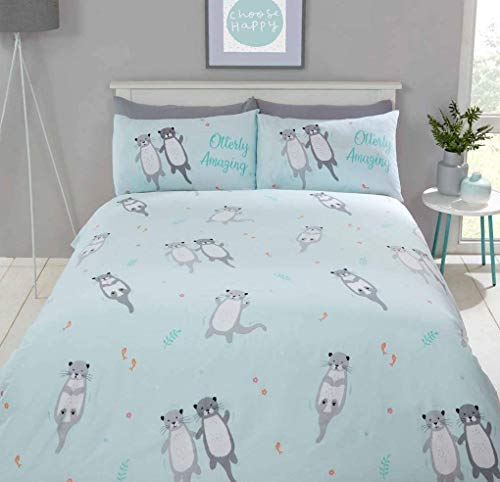 Rapport Cuddly Cute Otter Animal Duvet Quilt Cover Bedding Set with Pillow Cases (Duck Egg Blue, Double)