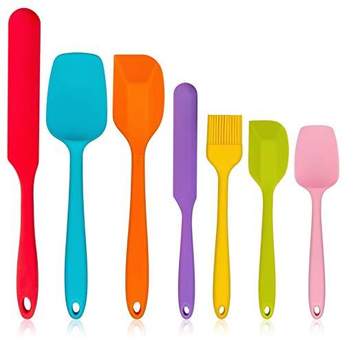 Homikit Silikon Spatel Set, 7 Stück Hitzebeständig Teigschaber Küchenutensilien zum Backen, Kochen Mischen, Nahtloser & Flexibel, Antihaft & Spülmaschinengeeignet, Bunt