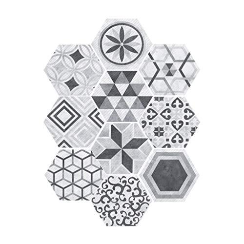 VOSAREA Carrelage Autocollants Hexagonal Style Industriel Anti-Slip Auto-Adhésif Amovible Sticker Mur