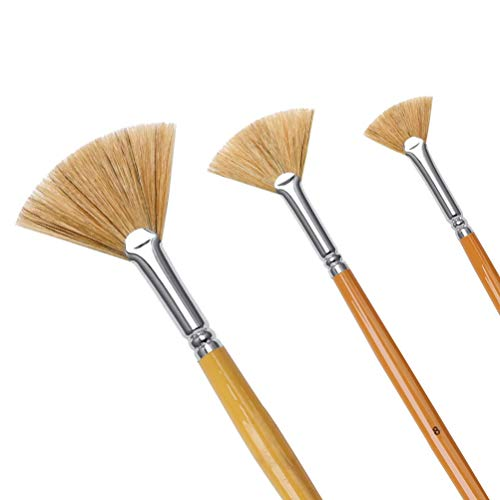 nuoshen 3 Pieces Artist Fan Brush Set,Soft Hog Bristle Hair for Acrylic Watercolor Oil Paintbrushes in Professional Ratio