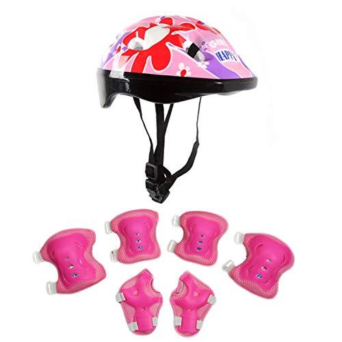 TOYHEART Casco De Bicicleta De 7 Piezas 58-62 CM, Conjunto De Equipo De Protección Transpirable, Casco para Niños, Rodilleras, Muñequeras, Coderas para Patineta Rosa