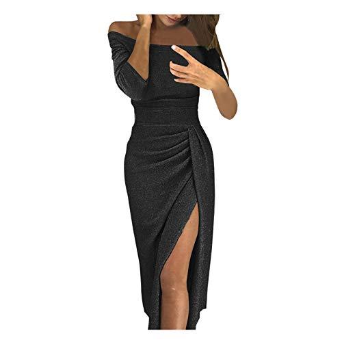 iHENGH Damen Frühling Sommer Rock Bequem Lässig Mode Kleider Frauen Röcke beiläufiges festes Design knöpft halbes Hülsenkleid-Sommerkleid(Schwarz-1, 2XL)