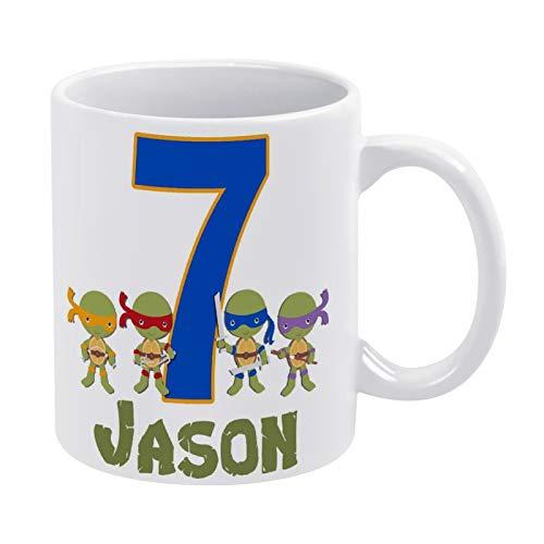Promini Taza de cerámica de café divertido, taza blanca de té de las tortugas ninja personalizadas, cumpleaños, blanco, C1, 11 onzas, gran regalo para amigos y familiares