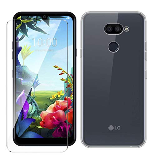 LJSM Hülle für LG K40S + Panzerglas Bildschirmschutzfolie Schutzfolie - Transparent Weich Silikon Schutzhülle Crystal Flexibel TPU Tasche Hülle für LG K40S (6.1