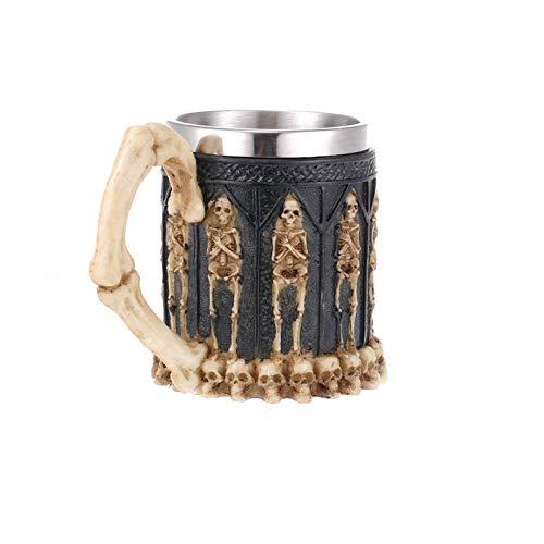 SHUNHUI Vaso de calavera para vino de resina, de acero inoxidable, decoración del hogar, para Halloween