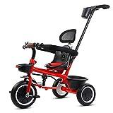 自転車 ベビートロリー 子供たち自身 軽量おもちゃ 子供用三輪車 空気入りタイヤは不要 実装できる+乗れる (Color : Red)
