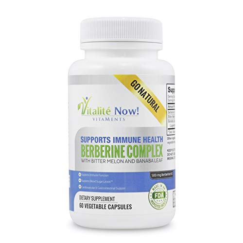 High Strength Berberine 500mg + Bitter Melon & Banaba - Immune System Health - Supports Glucose Metabolism & Healthy Blood Sugar - Cardiovascular & Gastrointestinal Support - Weight MGMT & Fat Burn