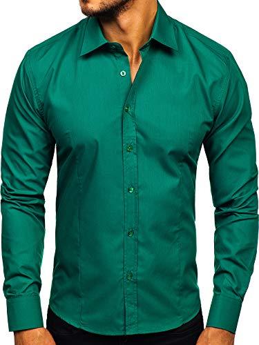 BOLF Herren Hemd Langarm Freizeithemd Classic Elegant Buisness Party Bügelleicht Farbwahl Unifarben Einfarbig Basic Slim fit 1703 Grün(Dunkel) L [2B2]