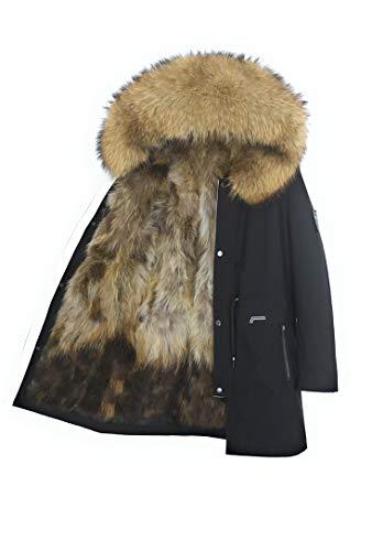 Lea Marie Herren Luxury Parka XXL Kragen aus 100% ECHTPELZ ECHTFELL Jacke Männer Mantel Fuchspelz Innenfutter (Natur, 56)