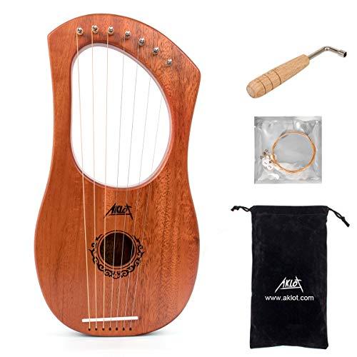 AKLOT Lyre Harfe, 7 Metallsaiten Knochen Sattel Mahagoni Lauge Harfen mit Stimmschlüssel und schwarzer Gigbag…