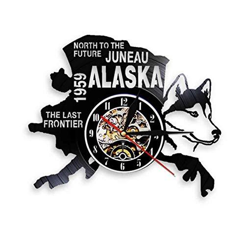 tyjsb The Last Frontier Alaska Decor USA Cityscape Reloj de Disco de...