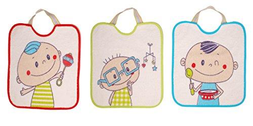 Ti TIN - Pack de 3 Baberos Impermeables para Bebé con Cierre con Goma con Forro de Vinilo | Tacto muy Suave para Bebés de Más de 1 Año