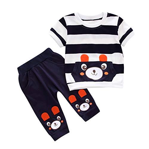 Xniral Baby Mädchen Babykleidung Set, Gestreift Kurzarm T-Shirt + Hosen Karikatur-Bär Neugeborene Kleinkinder Babyset Outfits(Schwarz,18-24 Monate)