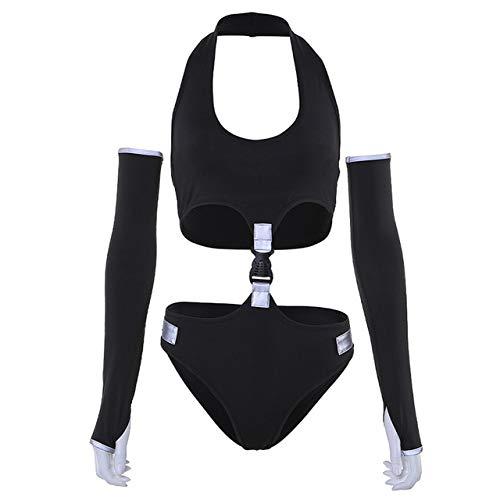 ALEIGEI Zomer 2019 Nieuwe Strip Stitching Bag Gesp Hollow Out Jumpsuit Zwarte Bodysuit Night Club