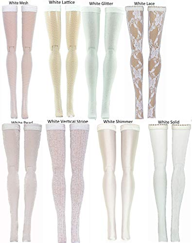 White Doll Stockings for Ever After and Monster High dolls - all sizes
