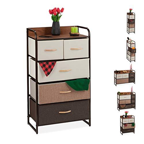 Relaxdays ladenkast, 5 stoffen vakken, plank, slaapkamer kastje, nachtkastje h x b 100 x 58 x 31,5 cm, bruin