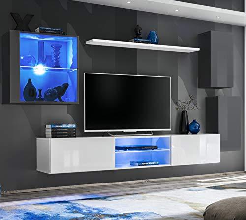 ASM SWITCH XXIII Wohnwand 250cm breit TV Ständer Display Glas Schrank PUSH-CLICK Türen LED Beleuchtung Grau Weiß Hochglanz