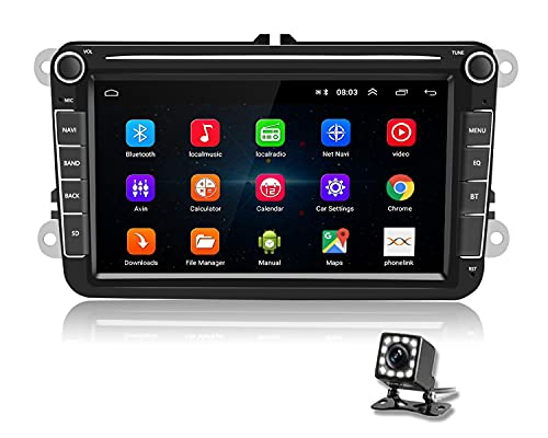Podofo Android Autoradio per VW GPS 8 Pollici Touch Screen Bluetooth FM Auto Radio con USB Dulica Schermo per Android/IOS per Golf Polo Passat Tiguan Touran +Canbus +Telecamera