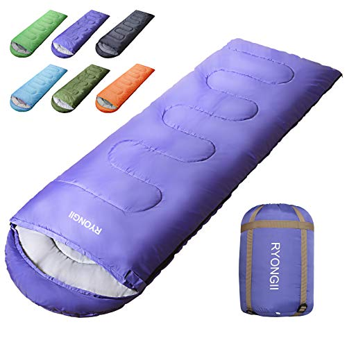 RYONGII Sleeping Bags 32℉ for Adults Teens - 4 Seasons Portable CompressionLightweight Waterproof Youth for Indoor & Outdoor, Waterproof, Backpacking and Outdoors Hiking