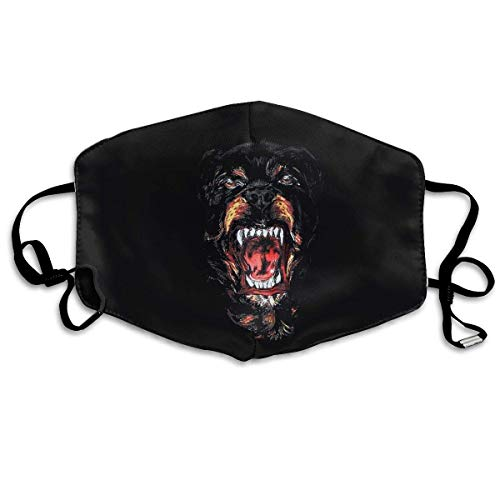 Unisex Print Mouth Mask - Cool Rottweiler Dog Art Polyester Anti-Dust Mouth-Muffle - Fashion Washed Reusable Face Masks for Outdoor Cycling