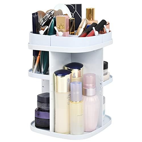 Organizer per Cosmetici,Organizer per Il Trucco di Bellezza Regolabile, Scatola per Cosmetici per Il Trucco, Bagno, Camera da Letto(Bianco)