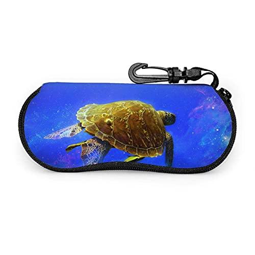 Ascfeagh Space Sea Turtle Galaxy Cremallera Shell Gafas de sol Estuche/Estuches para gafas Unisex Durable Portátil Ligero 17x8cm