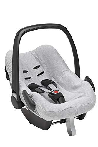 Meyco 524004 Universal Schonbezug-Sommerbezug-Babyschalen Bezug-Maxi Cosi Bezug-Kinder Autositz Bezug-Gruppe 0+ - 3 Punkt Gurtsystem-100% Baumwolle-Interlock-Jersey-Grau Meliert