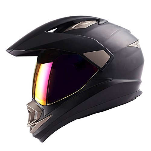 1Storm Dual Sport Helmet Motorcycle Full Face Motocross Off Road Bike Matt Black; Size M (57-58 cm; 22.4/22.8 Inch)